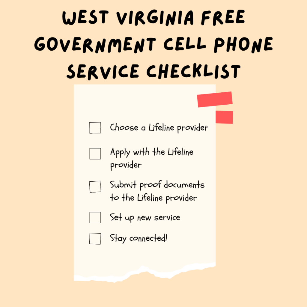 West Virginia free government cell phone service checklist