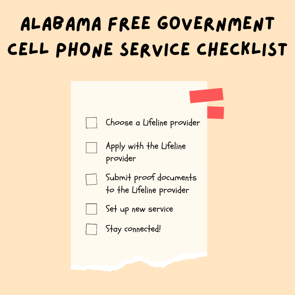 alabama free government cell phone service checklist