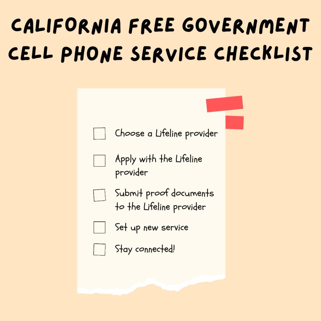 california free government cell phone service checklist