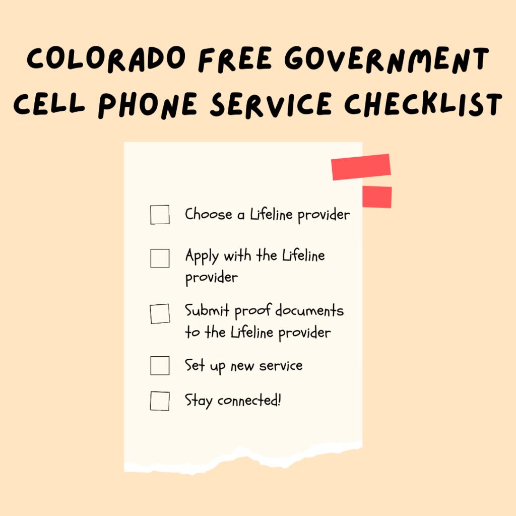 colorado free government cell phone service checklist