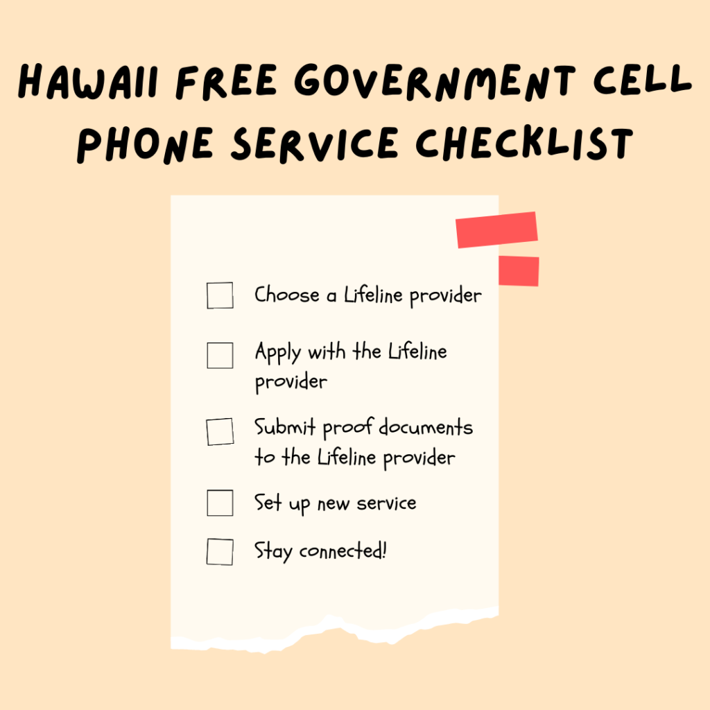 hawaii free government cell phone service checklist