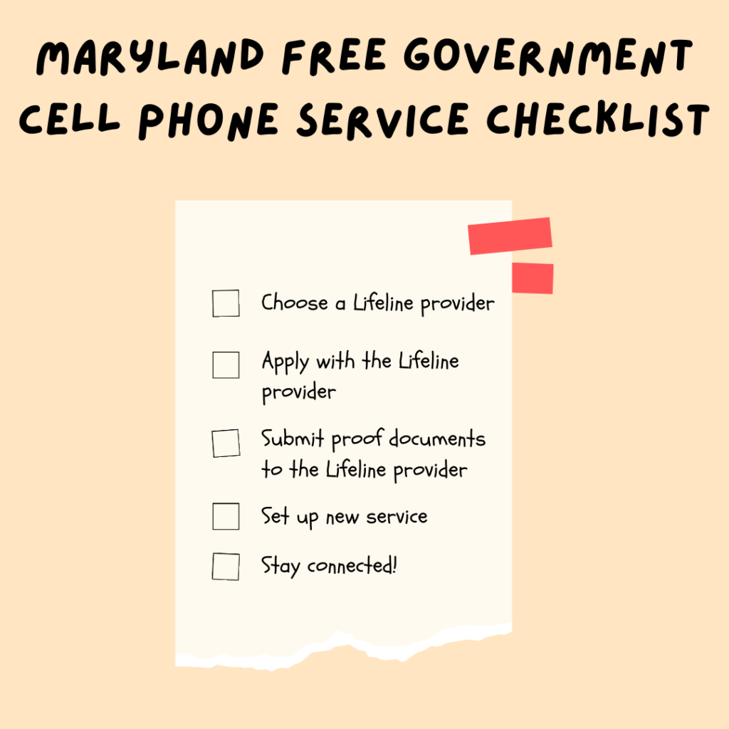 maryland free government cell phone service checklist