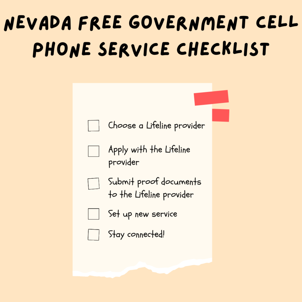 nevada free government cell phone service checklist