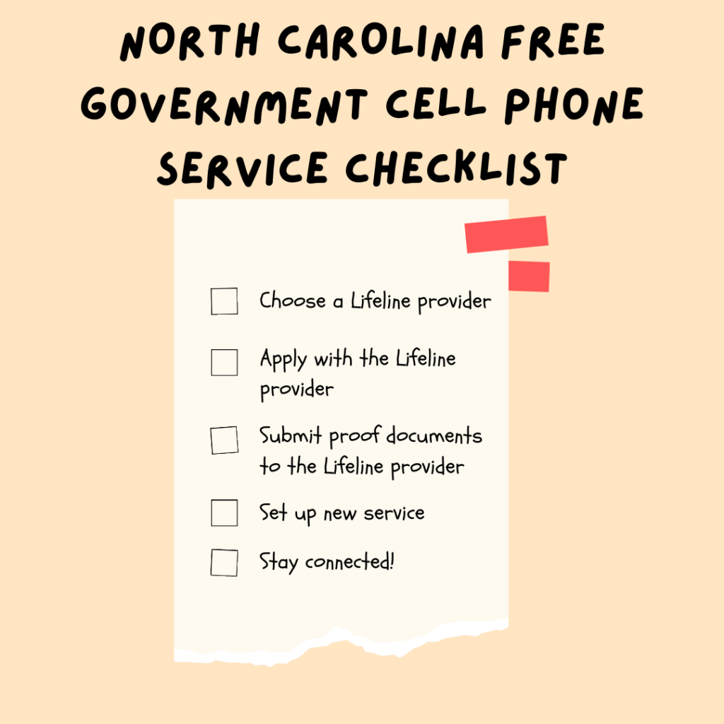 north carolina free government cell phone service checklist