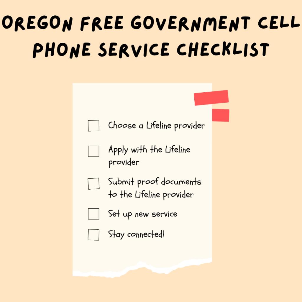 oregon free government cell phone service checklist