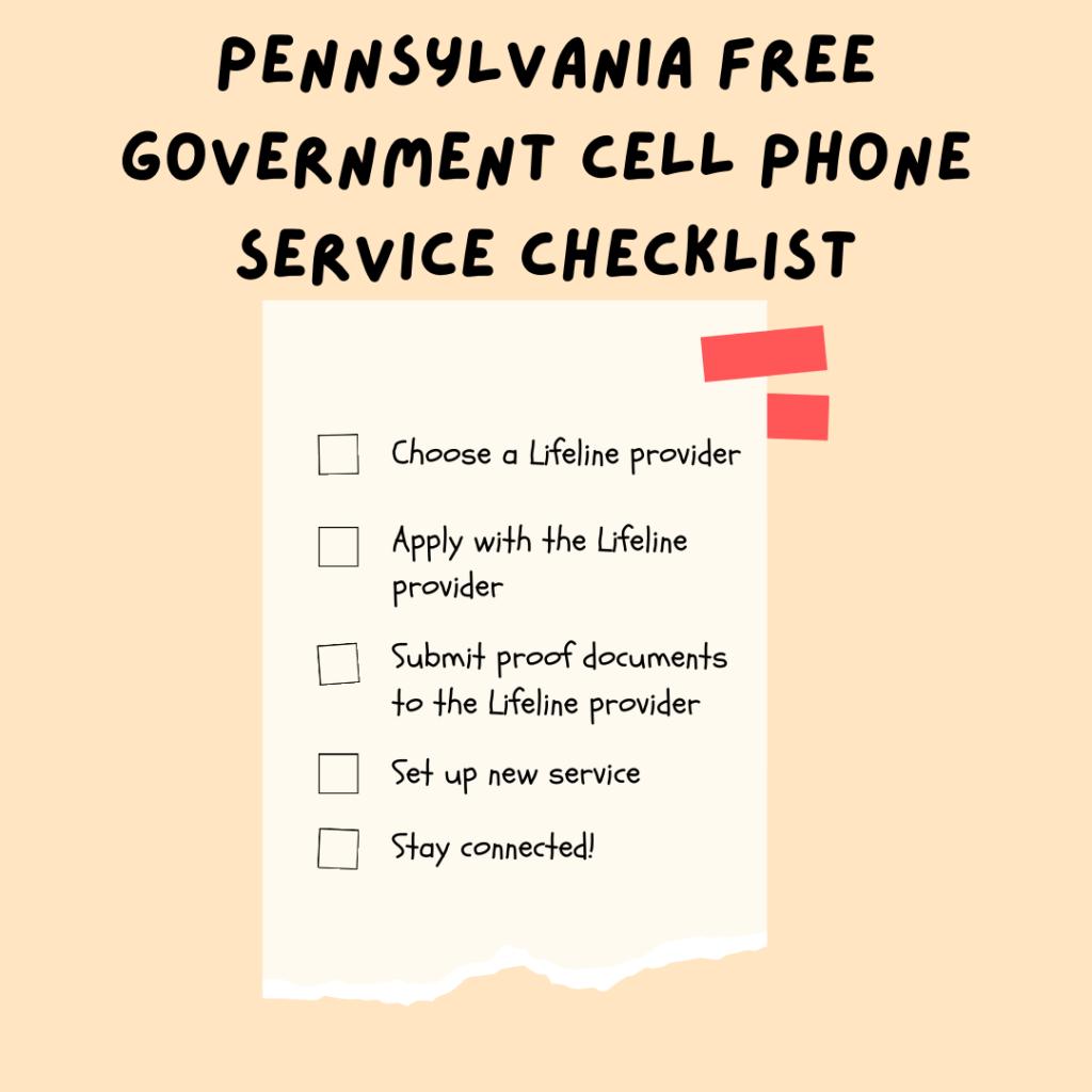 pennsylvania free government cell phone service checklist