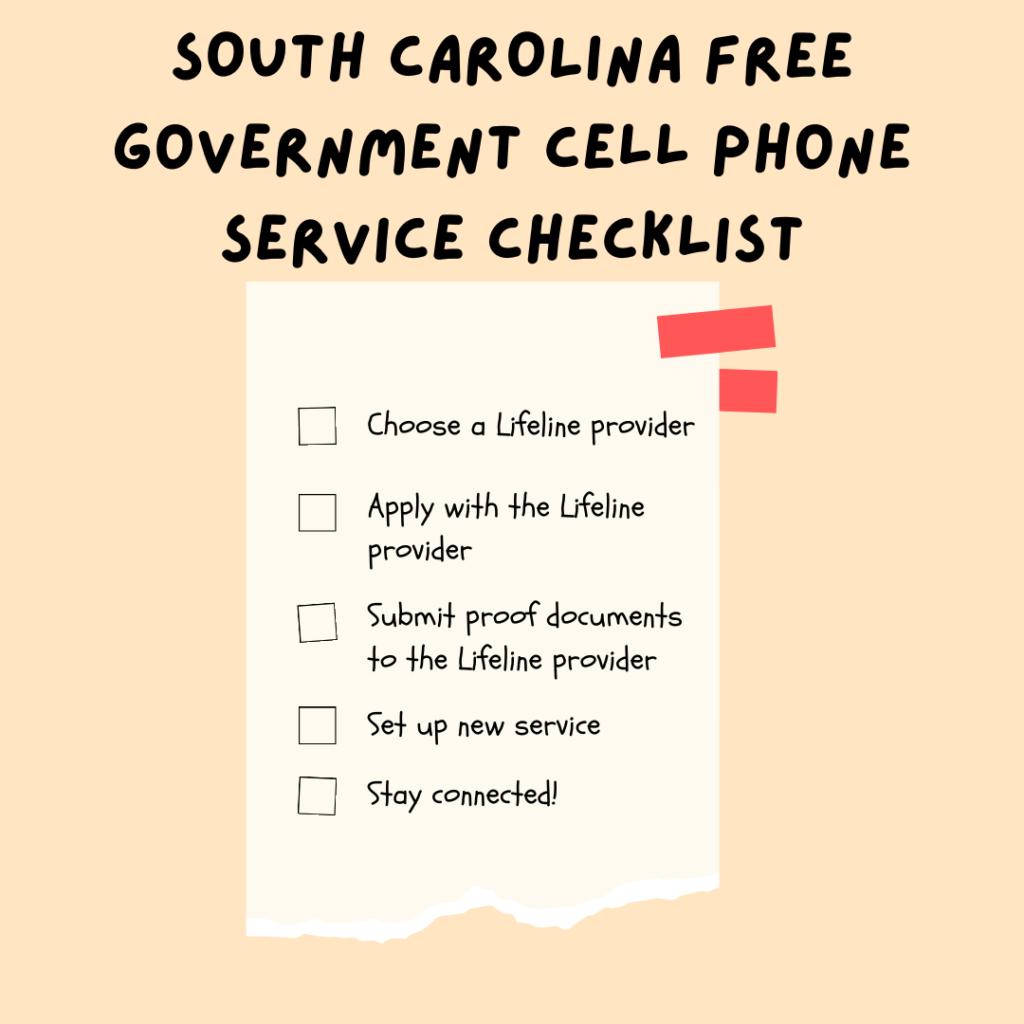 south carolina Free Government Cell Phone Service checklist