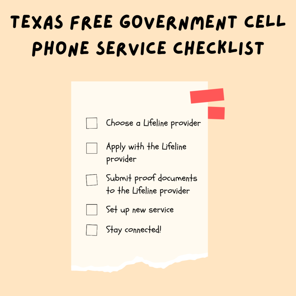 texas free government cell phone service checklist